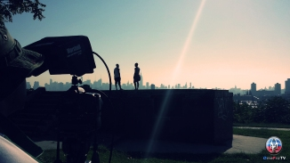 Setting up the shot in Jersey City Height's River Side Park.